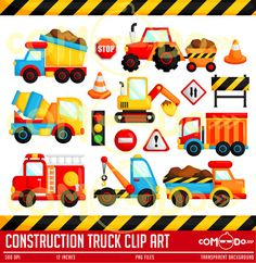 Construction Truck Clipart / Digital Clip Art for Commercial and Personal Use / INSTANT DOWNLOAD