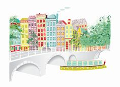Amsterdam+Across+the+canal++A4+cityscape+Print+by+lauraamiss,+€10.50