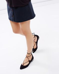 Blakely Lace-Up Pointy Toe Flats by SPURR Online | THE ICONIC | Australia