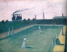 Kamil Lhoták - Tenis 1941 Modern Art, Games, Sports, Painting, Excercise, Painting Art, Game, Paintings, Sport