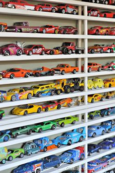 diy toy car display/storage from cheap shoe racks. So fun for boys who love cars!