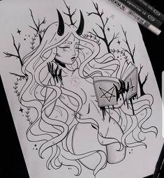 drawings of personalities Dark Art Drawings, Pencil Art Drawings, Art Drawings Sketches, Cool Drawings, Tattoo Sketch Art, Character Art, Character Design, Witch Art, Aesthetic Art