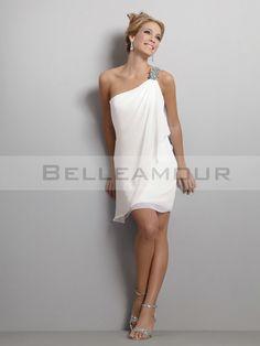 Robe de mariée Glamour Courte Mousseline Une épaule A-Ligne