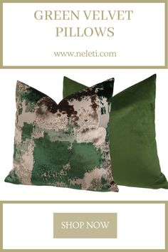 Handmade green pillow covers from luxury velvets. Green Velvet Pillow, Green Pillows, Velvet Pillows, Handmade Cushion Covers, Handmade Cushions, Decorative Pillow Covers, Green Pillow Covers, Throw Pillow Covers, Throw Pillows
