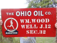 Vintage Sign The Ohio Oil Co. Metal Sign with the Marathon Runner Logo  #OhioOil