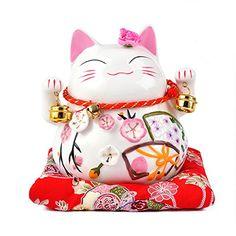 Maneki Neko - Japanese Porcelain Lucky Cat with Bells - Feng Shui Charm Piggy Bank (Medium cm)) Maneki Neko, All About Japan, Japanese Porcelain, Asian Art, Chibi, Badge, Hello Kitty, Cute, Painting
