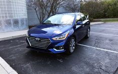 Download wallpapers Hyundai Accent, 2018, 4k, new blue Accent, sedan, front view, new cars, Hyundai