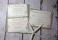 SAMPLE Aqua Beach Wedding Invitations/Wedding