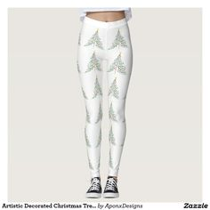 Artistic Decorated Christmas Trees Leggings