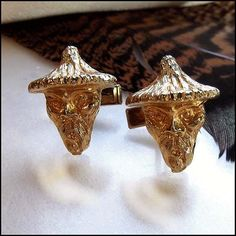 Vintage Cufflinks Gold Chinese China Men 1950s Mens Jewelry $75