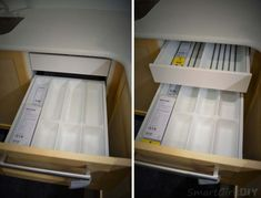 """SEKTION drawer interior / The interior UTRUSTA drawer faces are all white and are available in 8.5"""", 4"""", or 6.5"""" heights.  There are two types of drawer glides: MAXIMERA is what you're used to from IKEA drawers - full extension and soft close, and is the more expensive model.  FORAVAR glides - open ¾ of their depth and don't have a soft close."""