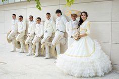 My Quinceañera #LaGlitterQuinceDress#White&Gold#MariachiTheme#Charros
