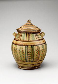"Sugar pot, Alamance County, North Carolina, 1795-1820. Lead-glazed earthenware. H. 10"". (Old Salem Museums & Gardens.) --- Art in Clay: Masterworks of North Carolina Earthenware by Old Salem Museums and Gardens, Chipstone Foundation, and Caxambas Foundation."