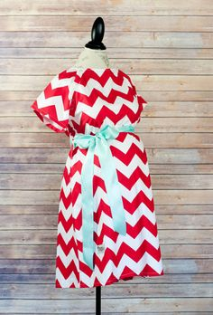 Maternity Hospital Delivery Gown in Red Chevron with Navy Sash Super by modmum