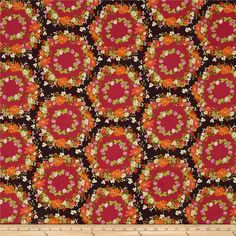 Michael Miller Strawberry Moon Clover Crown Berry from @fabricdotcom  Designed by Sandi Henderson for Michael Miller Fabrics, this cotton print collection features gorgeous saturated prints that are perfect for quilting, apparel, and home decor accents. Colors include purple, fuchsia, orange, green, cream, red, and mustard yellow.