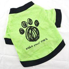 Summer Wear Green Footprint Pet Dog T-shirt Doggy Vest
