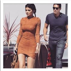 Suede bodycon dress As seen on Kylie Jenner. Suede bodycon dress. perfect with thigh high boots or strappy heels. size S. not from listed brand. LF Dresses Long Sleeve
