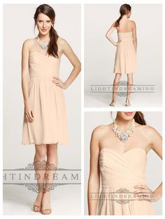 Strapless Ruched Sweetheart Knee Length Bridesmaid Dresses