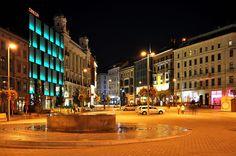 """Brno, """"Freedom"""" square at night (South Moravia), Czechia Central Europe, Capital City, Slovenia, Czech Republic, Prague, Hungary, Croatia, Austria, Bohemia"""