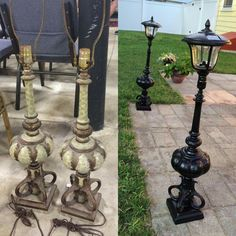Turn Old Lamps Into Outdoor Solar Posts! - Turn Old Lamps Into Outdoor Solar Posts! Turn Old Lamps Into Outdoor Solar Posts! Outdoor Crafts, Outdoor Projects, Outdoor Decor, Diy Yard Decor, Outdoor Ideas, Yard Decorations, Outdoor Art, Indoor Outdoor, Christmas Decorations