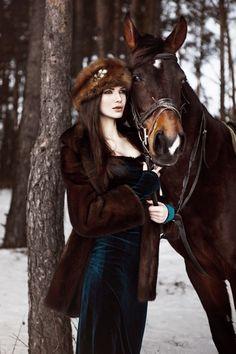 Russian Beauty by Anastasia Fursova on 500px, horse, snow, winter.  Beautiful Russian girls