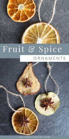 Handmade Dried fruit ornaments lend a wonderful natural look to rustic Christmas decor. They're simple, frugal, and fun to make! Follow the simple steps to make these easy nature ornaments from apples, oranges, clementines or pears. Star anise is a classic spice to use, but whole cloves and allspice work well too! If properly dried, these natural Christmas decorations will last all through the holiday season without spoiling, fading, or losing their shape. #rusticchristmas…
