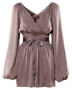 Brown Charming Princess Long-sleeved Bow Belt Dress - Sheinside.com blouse inspiration