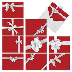 M2262 Tie One On: 10 Assorted Christmas Note Cards Featuring Images Of Red-Wrapped Gift Boxes Tied With White Bows, w/White Envelopes. >>> Awesome product. Click the image : Christmas Gifts