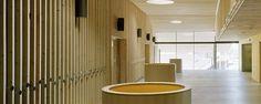 Ejemplos de revestimientos interiores decorativos de madera utilizados en colegios de Francia. Solución muy elegante y cálida