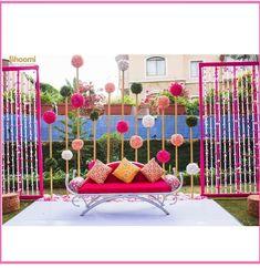 Mehendi decoration with simple work. Desi Wedding Decor, Marriage Decoration, Outdoor Wedding Decorations, Wedding Events, Weddings, Mehendi Decor Ideas, Mehndi Decor, Budget Wedding, Wedding Ideas