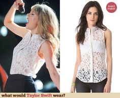 Taylor Swift's white sleeveless lace shirt and shorts at The CMA Music Festival – June 2013 - http://wwtaylorw.com/2745/