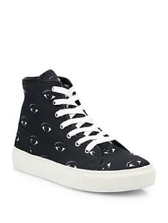 accf50cd2825b KENZO - Vulcano Eye Canvas High-Top Sneakers Black Canvas Shoes