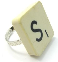 This recycled or upcycled jewelry making project shows you how to upcycle a scrabble tile into a fun jewelry ring.      This project uses original scrabble tile pieces so it is a true recycle project.      For this upcycle project we used our initials to make fun rings.      Simply take the scrabble tile and glue the ring back into place. Let dry before wearing.