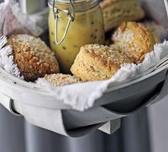 Sugared scones : A simple and quick scone recipe that has a great sweet finish - the crunchy sugar top adds texture too A simple and quick scone recipe that has a great sweet finish - the crunchy sugar top adds texture too Classic Scones Recipe, Scone Recipes, Chocolate Drizzled Popcorn, Passion Fruit Curd, Drop Scones, Cheese Scones, Thinking Day, Bbc Good Food Recipes, Cookies