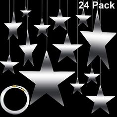 Amazon.com: Maitys Hanging Star Cutouts with 4 Sizes (6cm/12cm/20cm/30cm) Shining Finish Star Yard Decorations Party Decor with 50 m Nylon Beading Fishing Line (Silver, 24): Home & Kitchen Kitchen Supply Store, Kitchen Shop, Basic Kitchen, Cute Kitchen, Copper Kitchen, Wooden Kitchen, Night To Shine, Yard Party, Black Balloons