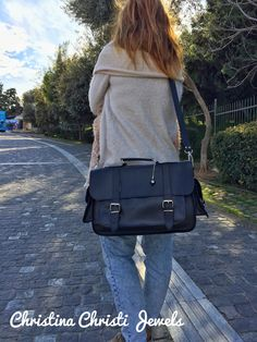 Leather Briefcase Women Leather Messenger by ChristinaChristiJls