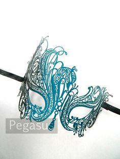 Teal and Black Color Black Swan Mask design (1 Mask) Venetian Filigree Scroll work Metal Mask - Laser Cut Mask Made of Light Metal