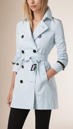 Pale blue Leather Trim Cotton Gabardine Trench Coat - Burberry
