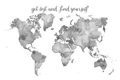 Black and white watercolor world map - get lost and find yourself Canvas Print
