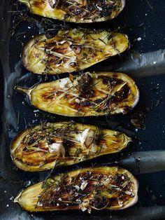 Baked Eggplant with Vinaigrette of Shallots, Olives, Bread, Basil and Lemon | Simple Feast