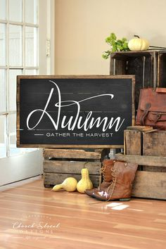 AUTUMN - Gather The Harvest Easily decorate your house for Thanksgiving and the Autumn season with this gorgeous Fall Sign. Created to look like an antique chalkboard, this solid wood sign has a dark stain border with a black background and beautiful white lettering.  Would you just like the printable design? Click here to purchase https://www.etsy.com/listing/460110002/thanksgiving-decor-fall-sign-instant?ref=related-7  SIGN SPECS * Sign measures approx. 23x36 * Background is Black with…