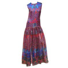 1stdibs | 1960's Pierre Cardin Psychedelic Print Pure-Silk Maxi Dress