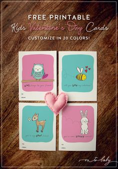 Free Printable Valentine's Day Cards for Kids - Customize in 20 colors