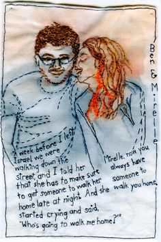 custom embroidered love story done by Iviva Olenick -- I LOVE this idea!