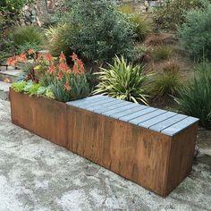 Corten Steel Planter Bench Planting bench made of metal Planter Bench, Metal Planter Boxes, Corten Steel Planters, Wood Planters, Garden Planters, Planter Ideas, Garden Hose, Raised Planter, Sky Garden
