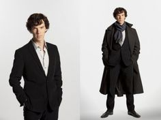 Not sure which costume I'd prefer to try. The lovely long coat with high collar and a bit of fitting is his friend. He's also doing a nice open shirt/well-fitting (clean, unrumpled) suit thing. Well done that man/BBC costume department. Benedict Sherlock, Sherlock Bbc, Sherlock Holmes Cumberbatch, Sherlock Cosplay, Peacoats, Nerd Love, British Actors, Cosplay Ideas, High Collar