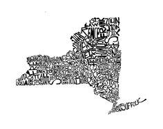 New York - typography map art print - customizable 8x10 - free shipping. $25.00, via Etsy.