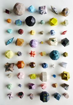 Animal, Vegetable, Mineral by Lydia Kasumi Shirreff. Collection of geometric objects. Animal Vegetable Mineral, Things Organized Neatly, Deco Nature, 3d Prints, Kirigami, Geometric Shapes, 3d Shapes, Geometric Patterns, Geometric Origami