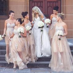 Spring Cheap Champagne Sweetheart Lace Appliques Long Bridesmaid Dresses See Through Maid Of Honor Prom Wear Tulle Wedding Party Cheap Wedding Guest Dresses, Cheap Party Dresses, Wedding Party Dresses, Maid Of Honor Dress Long, Maid Of Honour Dresses, Bridesmaid Dresses Long Champagne, Bridesmaid Gowns, Wedding Bridesmaids, Tulle Wedding