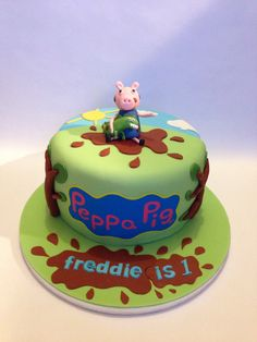 Want this George Pig cake my son would love it George Pig Cake, George Pig Party, Peppa Pig Birthday Cake, First Birthday Cakes, 2nd Birthday, Birthday Ideas, Fiestas Peppa Pig, Dino Cake, Cupcake Cakes